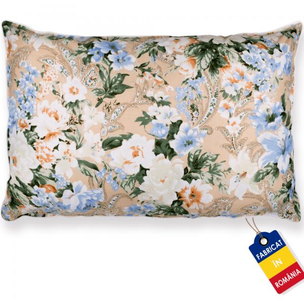 Perna Pernador cu pana de gasca 80x100 cm flori albastre