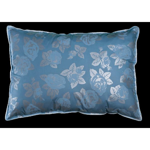Perna Pernador cu pana de gasca 80x100 cm albastru cu trandafiri argintii